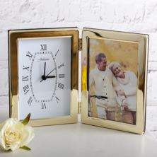 Personalised Brass Plated Frame With Clock