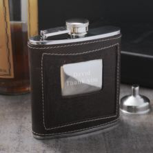 Personalised Brown Leather Hip Flask with Funnel