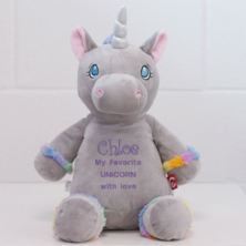 Personalised Embroidered Cubbies Grey Unicorn Soft Toy