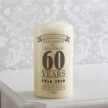 Personalised 60th Anniversary Candle
