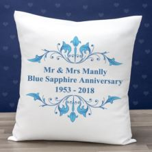 Personalised Blue Sapphire Anniversary Cushion