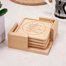 Luxury Personalised Maple Wood Coaster Set