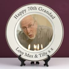 Personalised 70th Birthday Photo Plate