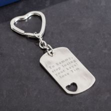 Personalised Rectangle Keyring With Cut Out Heart