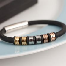 Mens Three Tone Hoop Bracelet In Personalised Box
