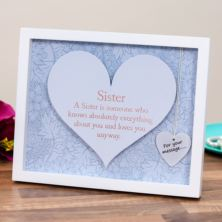 Sister Sentiment Heart Art Frame