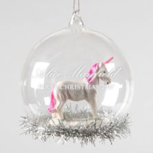 Personalised My Little Unicorn Glass Bauble With Tinsel