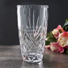 Personalised Oval Anniversary Cut Crystal Vase