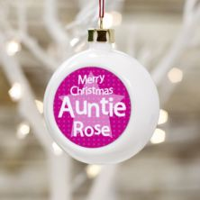 Personalised Auntie Christmas Bauble