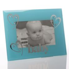 Baby Boy Blue Glass And Crystal Frame