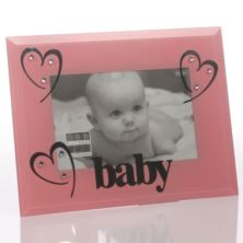 Baby Girl Pink Glass And Crystal Frame