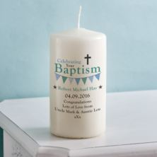 Personalised Boys Baptism Candle