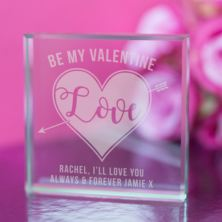 Engraved Valentines Day Glass Keepsake