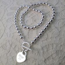 Silver Plated Bead Necklace With Silver Plated Engraved Heart and Personalised Gift Box