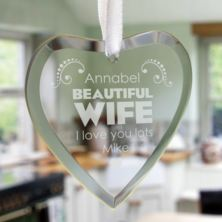 Beautiful Wife Personalised Glass Hanging Ornament
