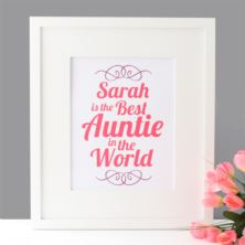 Personalised Best Auntie in the World Framed Print