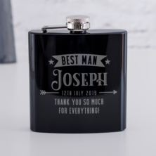 Personalised Best Man Black Hip Flask