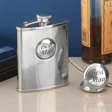 Best Man Chrome Hip Flask & Pocket Watch Gift Set in Personalised Box