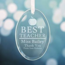 Personalised Best Teacher Oval Hanging Ornament