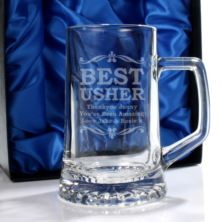 Personalised Best Usher Glass Stern Tankard
