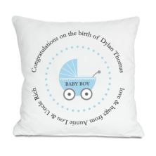 Personalised Baby Boy Birth Cushion
