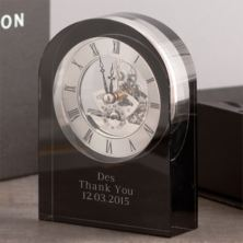Personalised Dartington Curve Black Crystal Clock