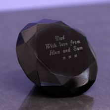 Engraved Black Diamond Crystal Paperweight