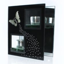 Black Glass Tea Light Holder with Butterfly