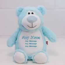 Personalised Embroidered Cubbies Blue Bear Soft Toy