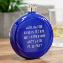 Personalised Round Blue Stainless Steel 5oz Hipflask