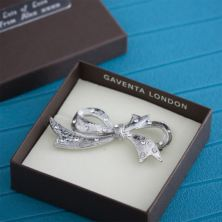 Crystal Set Bow Brooch in Personalised Gift Box