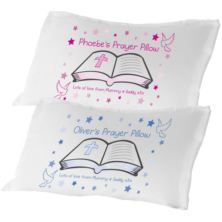 Personalised Prayer Pillowcase - Blue or Pink