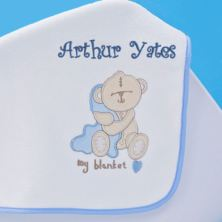 Baby Boy Personalised Embroidered Blanket