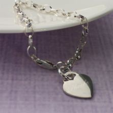 Sterling Silver Link Bracelet With Heart in Personalised Box
