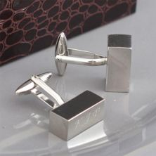 Engraved Chunky Block Cufflinks in Personalised Gift Box