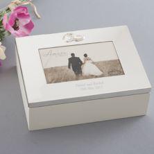 Personalised Wedding Keepsake Box with Rings