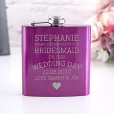 Personalised Pink Bridesmaid Hip Flask