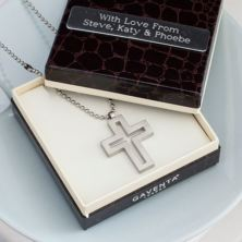 Brushed Stainless Steel Open Cross Pendant in Personalised Gift Box