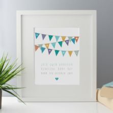 New Baby Boy Bunting Design Personalised Framed Print