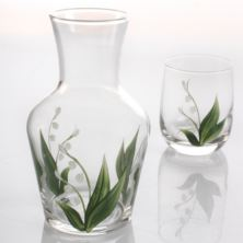 Hand Painted Carafe Set - Lily of The Valley