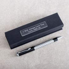 Silver and Black Carbon Fibre Finish Pen in Personalised Box