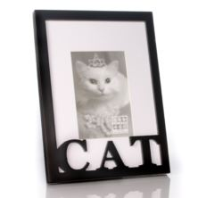 Carved Wood Cat Photo Frame
