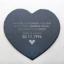 Personalised Catch Your Heart Slate Heart Placemat