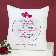 Personalised Catch Your Heart Cushion