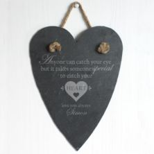 Personalised Catch Your Heart Slate Hanging Heart