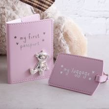 My First Passport And Luggage Tag Set Pink