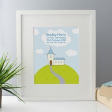 Personalised Boys Christening Framed Print