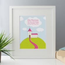 Personalised Girls Christening Framed Print