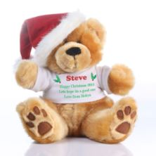 Personalised Christmas Teddy Bear with Santa Hat