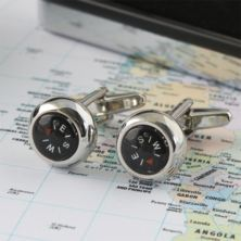 Working Compass Cufflinks In Personalised Gift Box